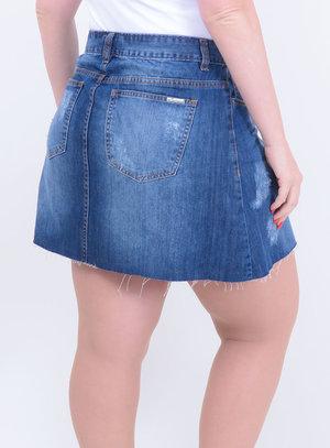 Saia em Jeans Destroyed com Barra Desfiada e Bolsos Stone