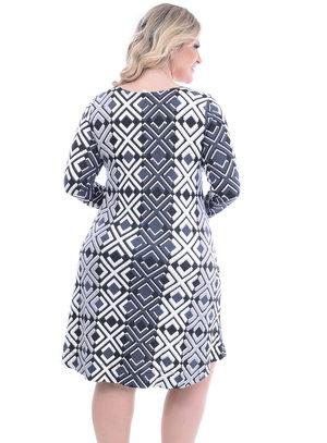 Vestido Melinde Geométrico Plus Size