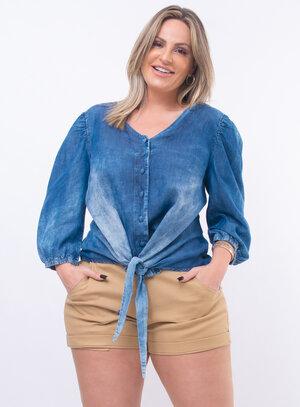 Blusa Jeans Plus Size Manga Bufante