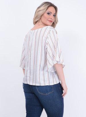 Blusa Sino Amarração Listras Plus Size