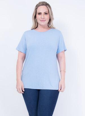 T-shirt em Malha Decote Careca Azul Bebe