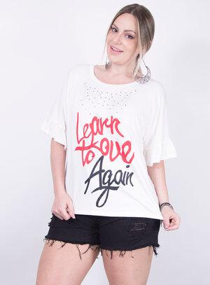 T-shirt em Malha Love Again Strass