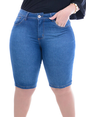Bermuda Jeans Attribute Ciclista Plus Size