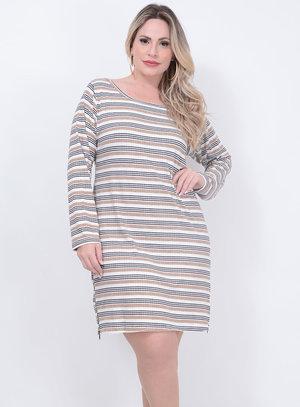 Vestido Listrado Zíper Plus Size