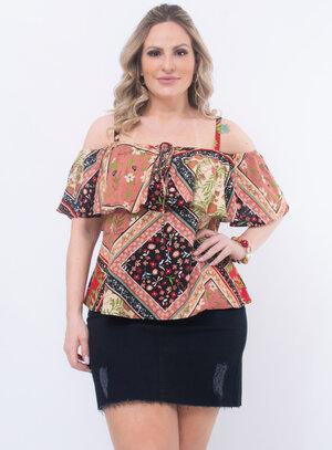 Blusa Plus Size Ciganinha Estampada