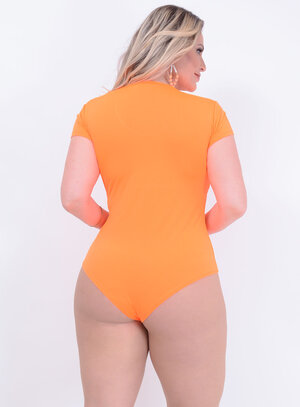 Body Neon Laranja Plus Size