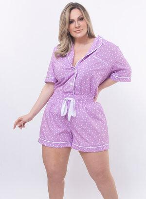 Pijama Plus Size Estampa de Estrelas
