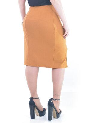 Saia Plus Size Secretária Caramelo