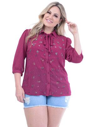 Camisa Marileti Bordada Fuchsia Plus Size