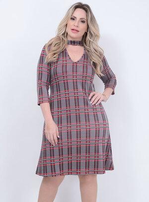 Vestido Choker Xadrez Plus Size