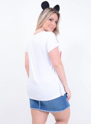 T-shirt em Malha Choker com Aplicação Snoopy Chanel Branca