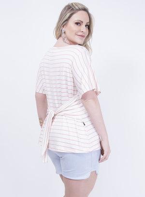 Blusa em Viscose com Detalhe em Amarração Listrada Rosa