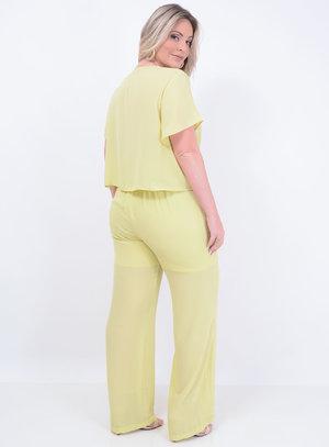 Conjunto de Blusa com Amarração em Chiffon e Calça Pantalona