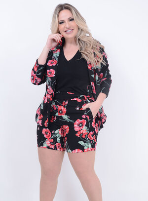 Conjunto Social Fashion Florido Plus Size