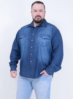 Camisa em Jeans Stone Masculina com Bolsos