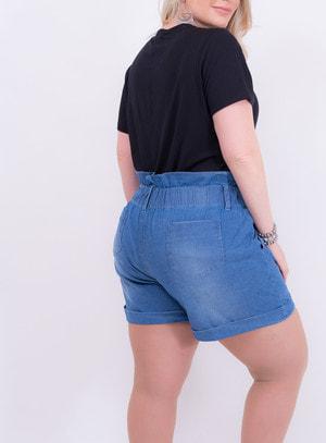 Short em Jeans Clochard com Elástico no Cós com Bolsos