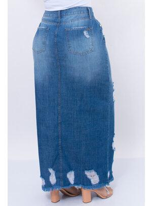Saia Jeans Plus Size Midi