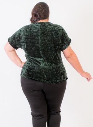 Blusa Manga Curta em Veludo Molhado com Bolso Verde