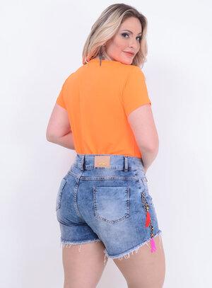 T-shirt Neon Laranja Plus Size