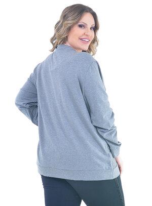 Blusa de Moletom Plus Size Pretty Cinza