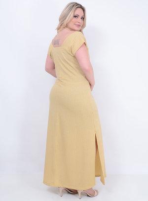Vestido em Lurex Longo com Detalhe Vazado no Decote e Amarração no Pescoço Dourado
