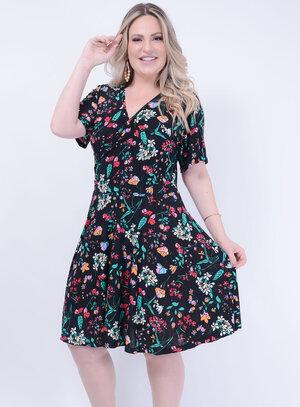 Vestido Evasê em Liganete com Decote Transpassado Florido