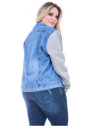Jaqueta Jeans Cambos Manga Moletom Plus Size