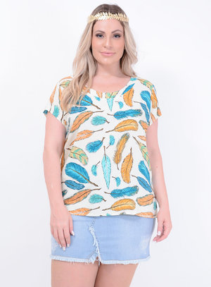 Blusa Recorte Penas Plus Size