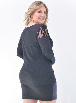 Blusa Plus Size Renda Grafite