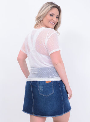 T-shirt Tule Poá Plus Size