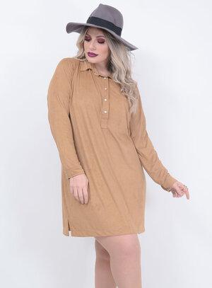 Vestido Tamanhos Nobres Suede Plus Size