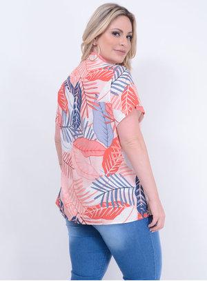 Camisa em Viscose com Mangas Curtas e Mix de Estampas Coral