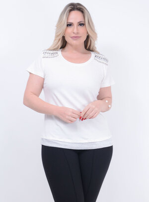 T-Shirt Bordada Off White Plus Size