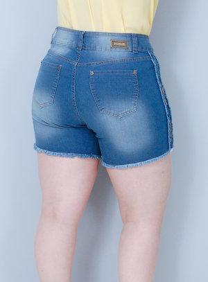 Short em Jeans com Elastano Correntes e Barra Desfiada