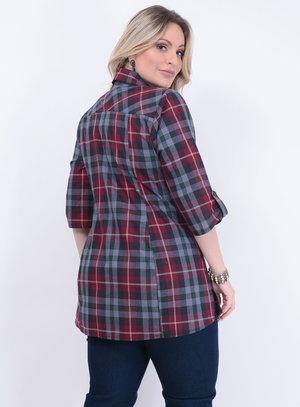 Camisa Xadrez Bolsos Plus Size