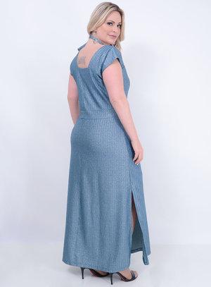 Vestido em Lurex Longo com Detalhe Vazado no Decote e Amarração no Pescoço Azul
