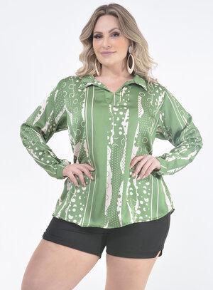 Camisa Plus Size Acetinada