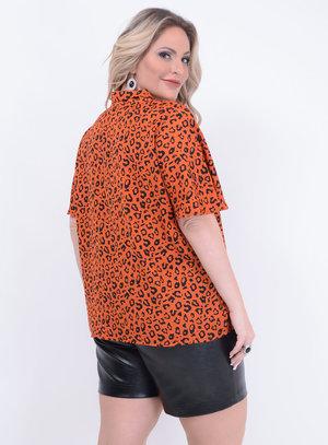 Blusa Amarração Animal Print Inverno Plus Size