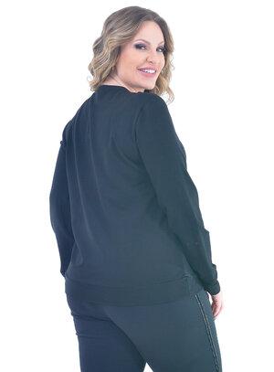 Blusa de Moletom Plus Size Matelassê Preta