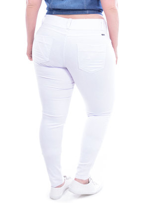 Calça Jeans True E- Motion Branca Plus Size