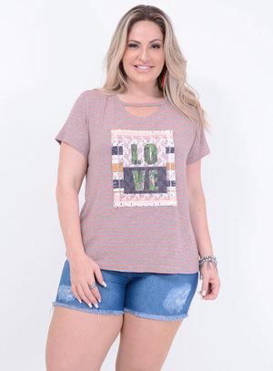 T-shirt em Malha Choker com Estampa: