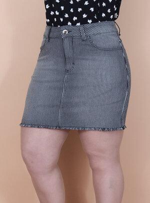 Saia Jeans Listrada com Elástico na Cintura