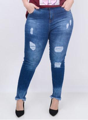 Calça Jeans Destroyed Plus Size