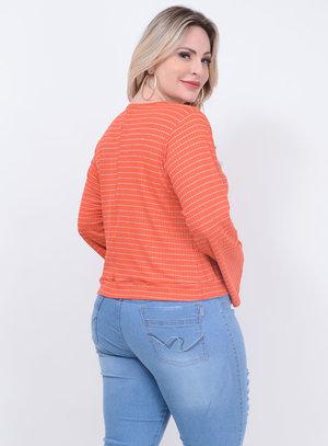 Blusa Listrada Nó Laranja Plus Size