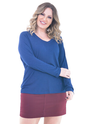 Blusa Plus Size Casual Azul Marinho