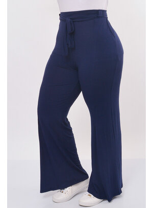 Calça Pantalona Plus Size com Laço
