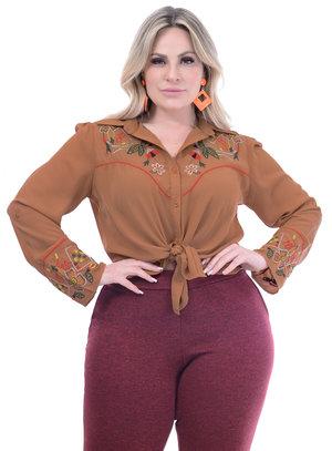 Camisa Marileti Bordada Laranja Plus Size
