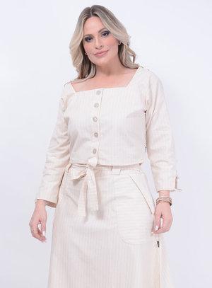 Blusa Cropped Linho Plus Size