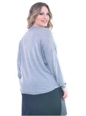 Blusa Plus Size Pérola Cinza