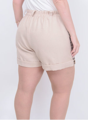 Short Oncinha Bege Plus Size